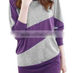 round facing double color split joint pullover blouse