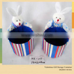 lovely plush rabbit with basket made by paper string for promotion