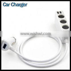 3 Cigarette Lighter Hub Multi 4 Port Usb Car Charger With Cable Ports