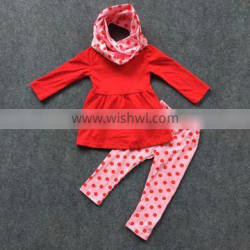 3 pieces outfit with leggings and scarf Valentine's day clothes baby girl clothing new arrival suit 1-9T available set