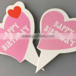 Pastel Pink heart-shaped lable Happy Birthday cake topper made of paper