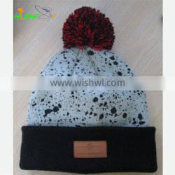 Custom printed knit beanie hat with top ball