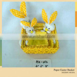 long ears plush rabbit toys with basket made by paper string for easter