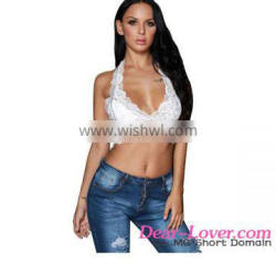 New Arrival 2017 Summer Hot Sale Women White Hollow Out Lace Halter Sexy Crop Tops