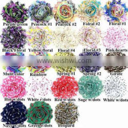 Hot spot in foreign trade in Europe and America old printed chiffon flower child headband headband hair ornaments ring DIY