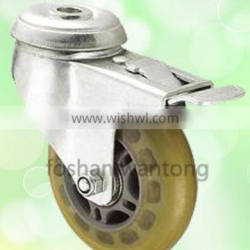 3 Inch Furniture Wheel With Stop Swivel White Transparent PU Caster Wheel
