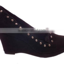 Fashion ladies high wedge heel shoes with rivets 2014