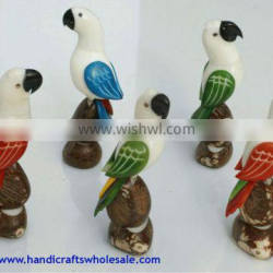 Hand Carving Tropical Parrots Tagua Statues Collectibles Exotic Figurines Unique Sculpture Vegetable Ivory Novelty Gift Ecuador