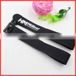 Custom logo printed adjustable loop fishing rod holder and hook fishing rod strap