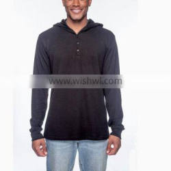 Men's Thermal Long-Sleeve Henley Hoodie