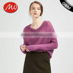 wholesale beautiful purple v collar ladies latest wool knitted sweater design with high grade