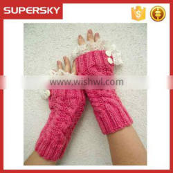 V-58 women fashion lace ruffle cable knit fingerless mittens with buttons short knit arm warmer