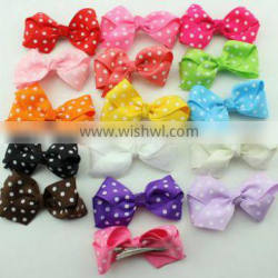 Polka Dot grosgrain Ribbon Bows with clips for baby girl Hair Bow Hair Accessories