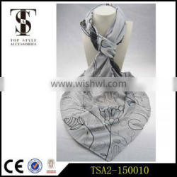 comfortable soft flower and plants pattern grey series own design silk scarf
