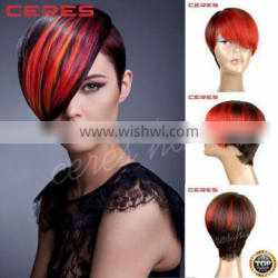 premium Japanese synthetic wig fire hair two tone red ombre wig synthetic lace front wig Quality Choice