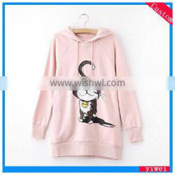 Pink women long sleeve hoodies wholesale