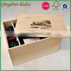 eco friendly triple bottles large or champagne wooden wine box with slide top