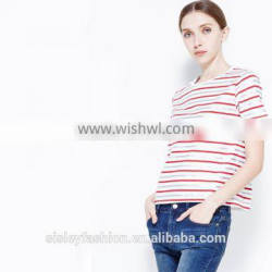 New arrival women stripe t shirt comfortable women t shirt new t shirt design TS084