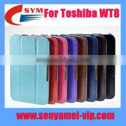 Foldable Leather Cover for Toshiba WT8 case, folded PU leather For Toshiba WT8 leather case