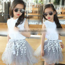 Teen Girl Summer Clothing 2016 Newest Korean Girl Tops +Lace Tutu Skirts Two Piece Sets Kids Clothes Suits