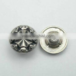 Engraved logo decorative metal jeans button