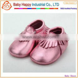 Hot selling fashion pink cow leather wholesale baby moccasin shoes