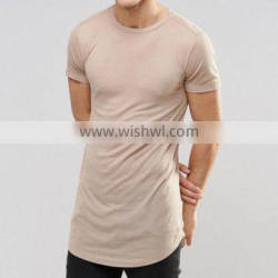 Wholesale Custom Elongated Cotton T-shirts Short Sleeve Shirts Man Slim Fit Elongated T Shirt