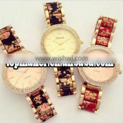 Floral band watch for women geneva fashion lady watch