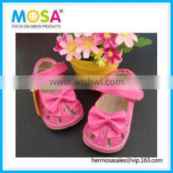 Rose Pink Girl Squeaky Leather Sandals for Summer