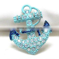 Newest nautical theme crystal deco colored anchor brooch or pin design