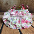 Wholesale floral bloomers ruffleties with pink bowknot and headband