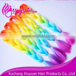 Rainbow colored synthetic hair jumbo braiding