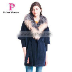 Autumn and winter length seven points women coat with silver fox Fur collar cashmere overcoat