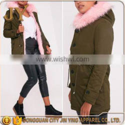 New Arrival women's thicken parka hooded fuax fur collar parka