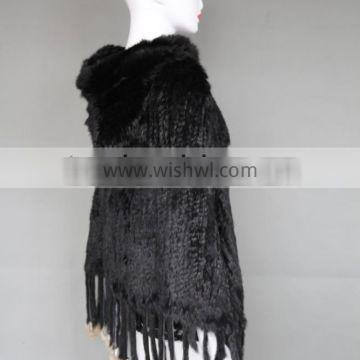 Genuine high quality rabbit fur knitted women poncho/shawl with hood/horn button