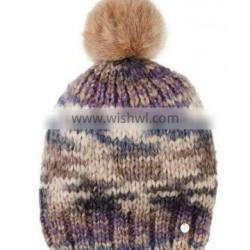 woolen knitted beanie hat with pom pom for ladies