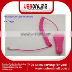 colorful data charger Retractable Line cable for sumsung + car charger