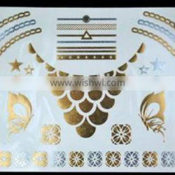 New Tattoo Metal Silver Golden Temporary Tattoos Sticker For Adults