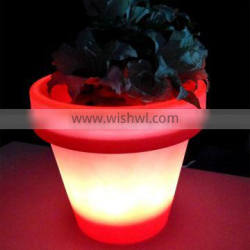 2015 modern customized colorful plastic led outdoor planter/luminous colors flower pot with remote control