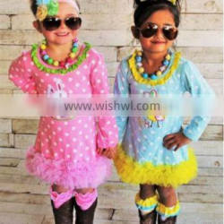 Long sleeve Girl Party Wear Western Dress Bunny And Chick Printed Easter Lace Dress