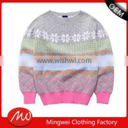 comfortable funny christmas pattern warm new design knitted kids pullover sweater for girls