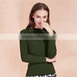 Green color ladies sweater 2017 fashion style women pullover sweater