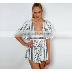 Womens fashion stripe jumpsuit playsuit woman apparel clothing summer beach party dress for women
