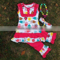 2016 new hot girls owl hot pink capri set outfits with matching necklace and bow
