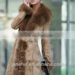 Lady's fashion rabbit fur double face long coat with raccoon fur collar around