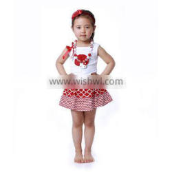2016 summer cute white tank top with red flower and mini patch work skrit baby clothes