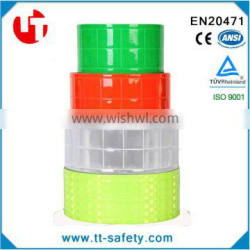 colorful High visibility fluorescent warning reflective PVC crystal material tape