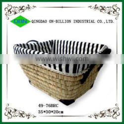 Hand woven matural material maize box for storage with handles