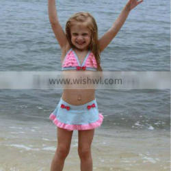 2014 new cute with none sleeve baby swimsuits