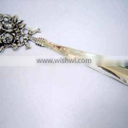 Shoe Horn Brass Silver Plated Rose Bunch style